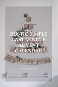 rustic simple last minute advent calendar