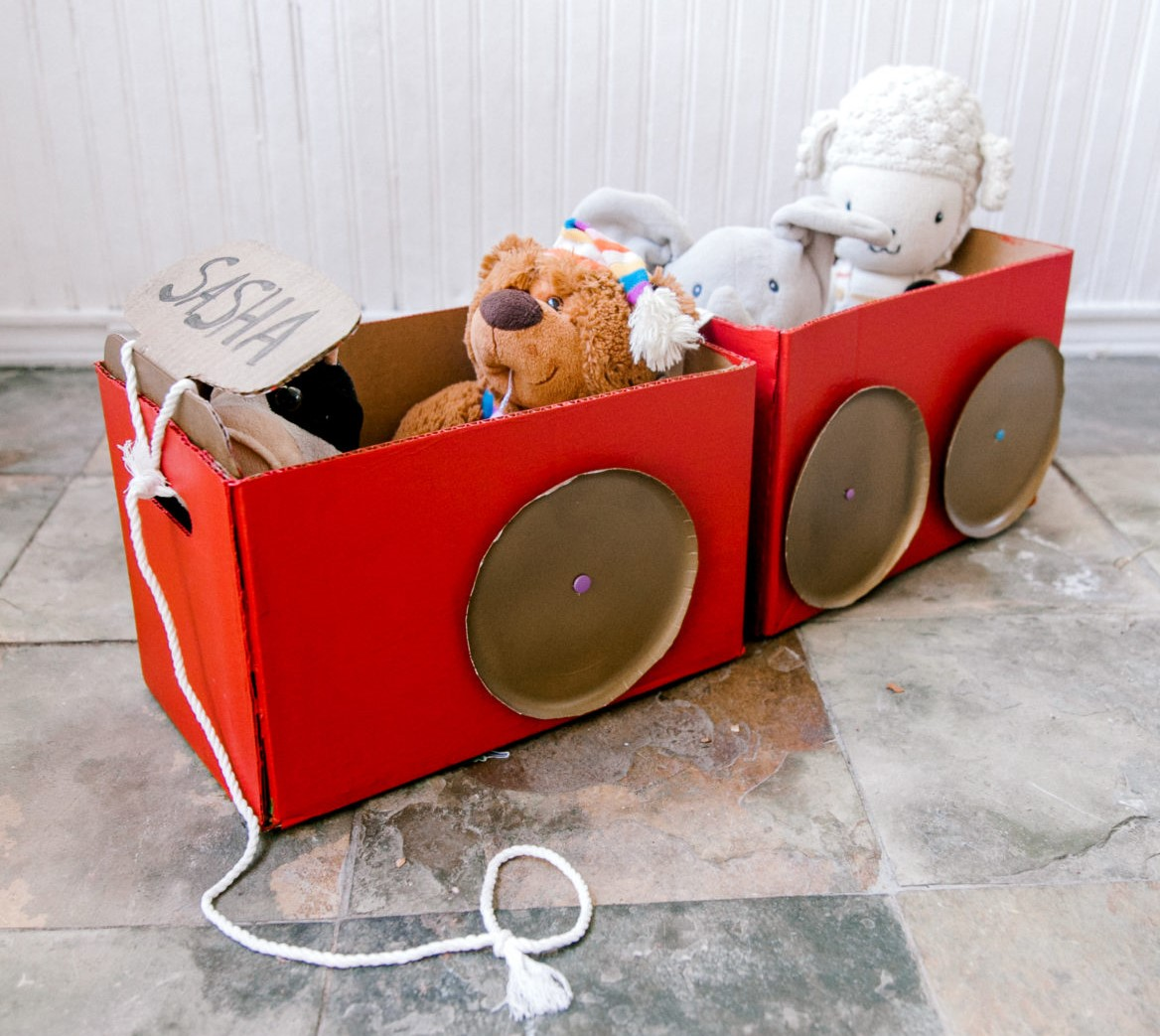diy toy storage cardboard train