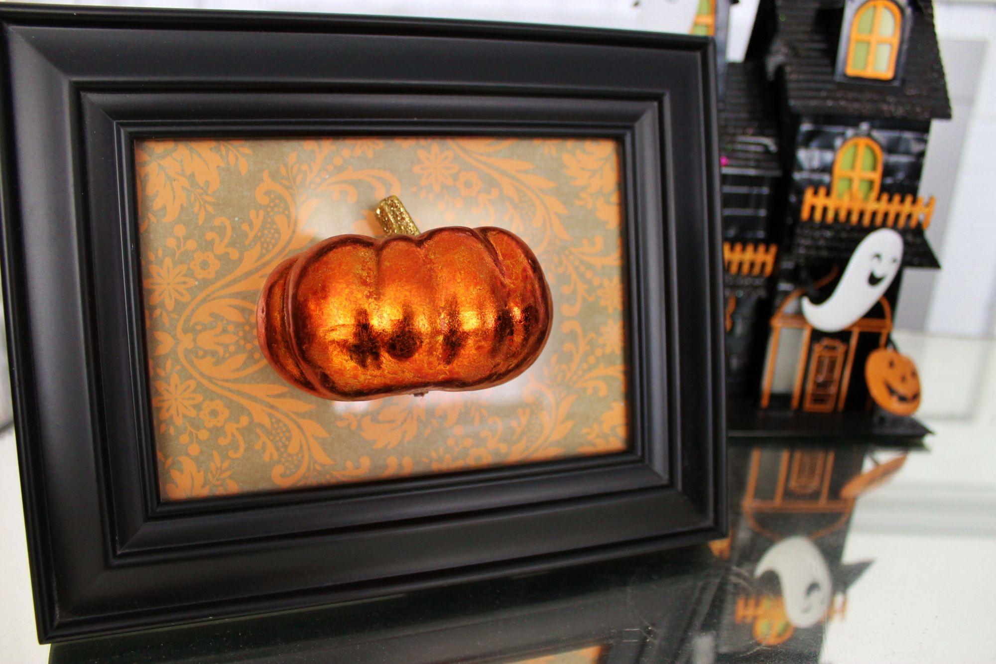 DIY framed pumpkin art