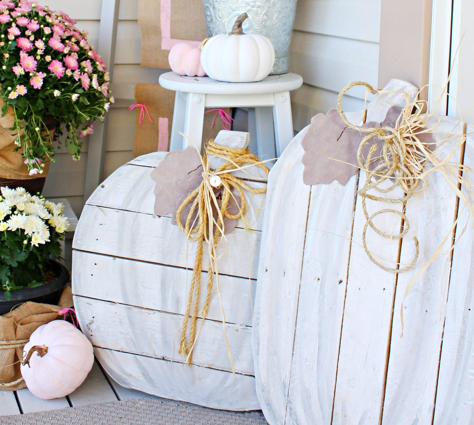 Fall Porch Decor Pallet Pumpkins