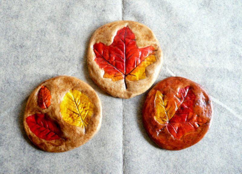 Salt dough leaf print