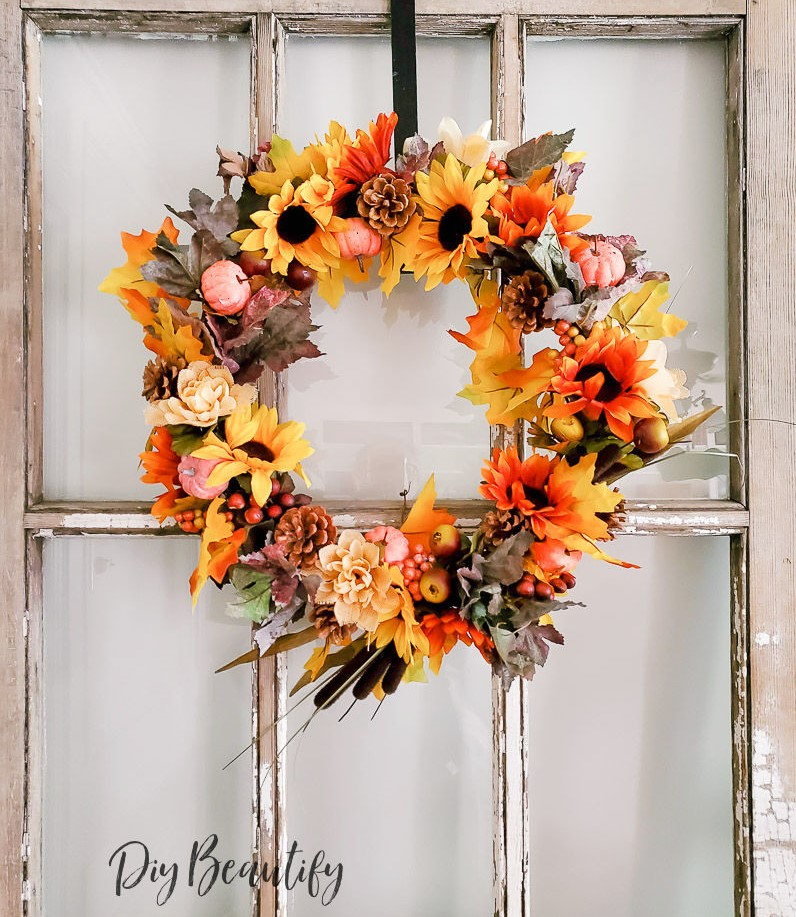 cheap and easy dollar store fall wreath