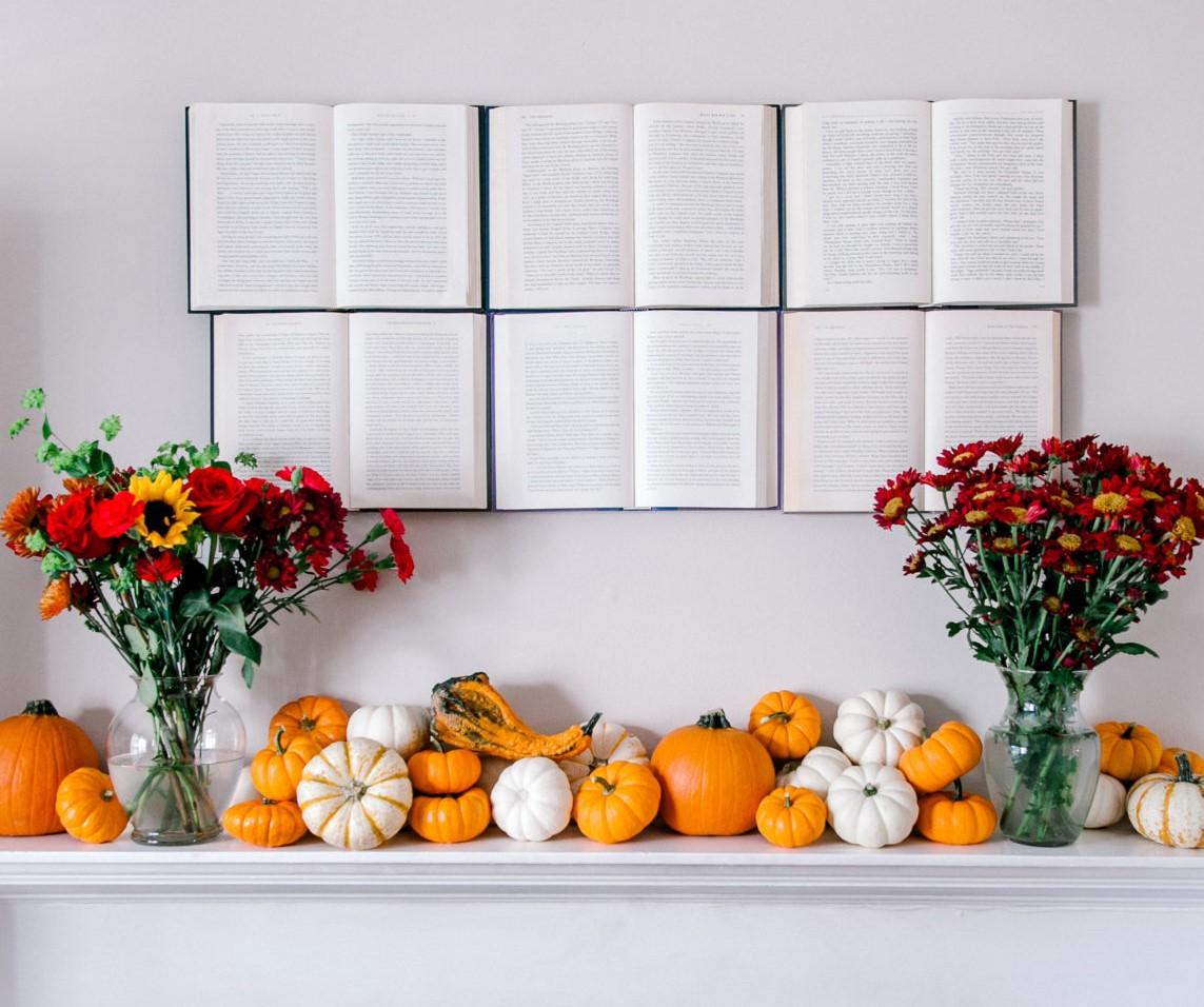 fall mantel book display