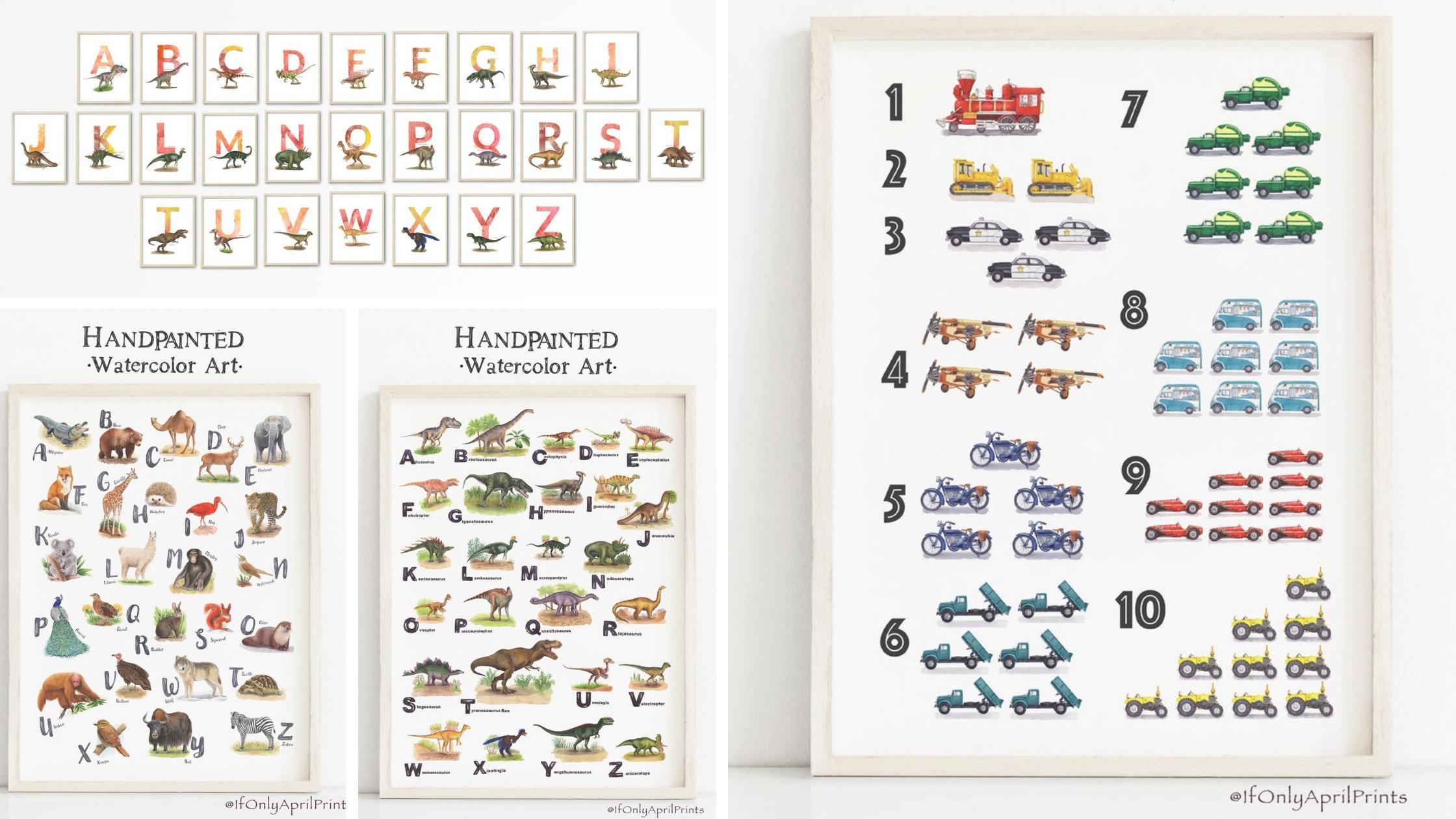 homeschool alphabet and mathematical wall decorating ideas