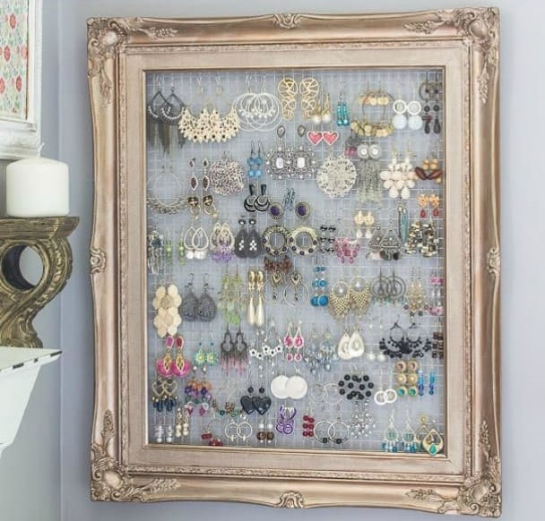 diy framed jewelry organizer