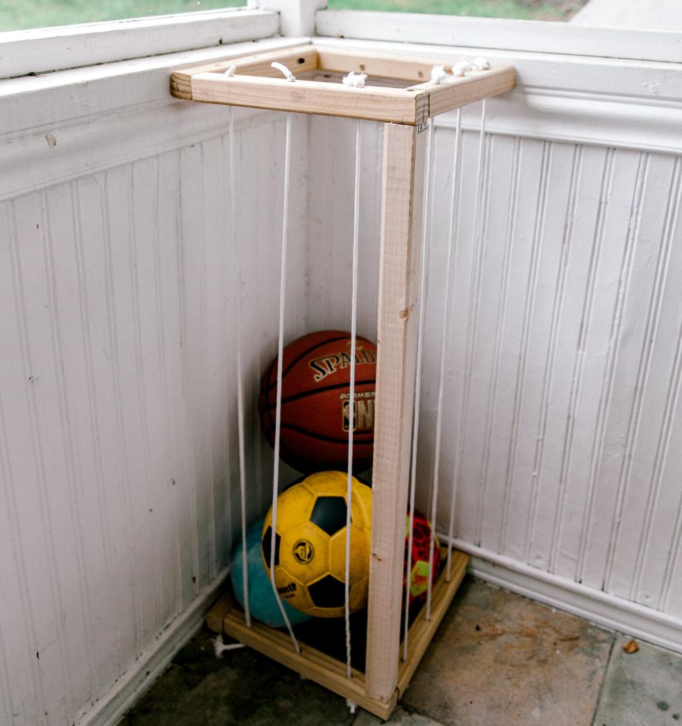 diy ball storage rack
