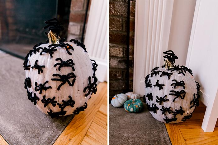 Easy DIY Spider-Covered Pumpkins