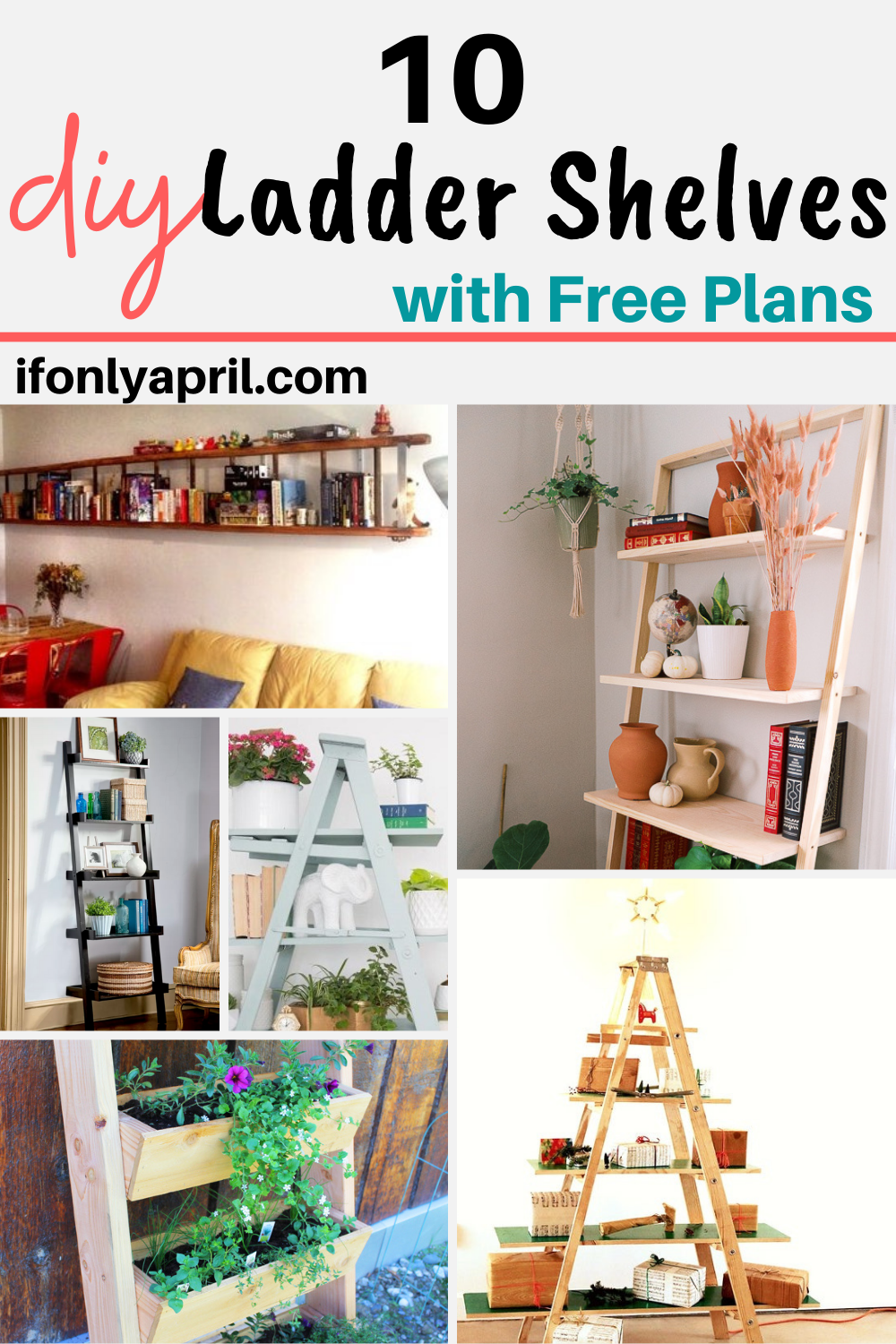 10 diy ladder shelves with free plans
