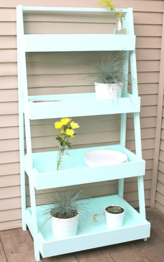 cute painted ladder shelf