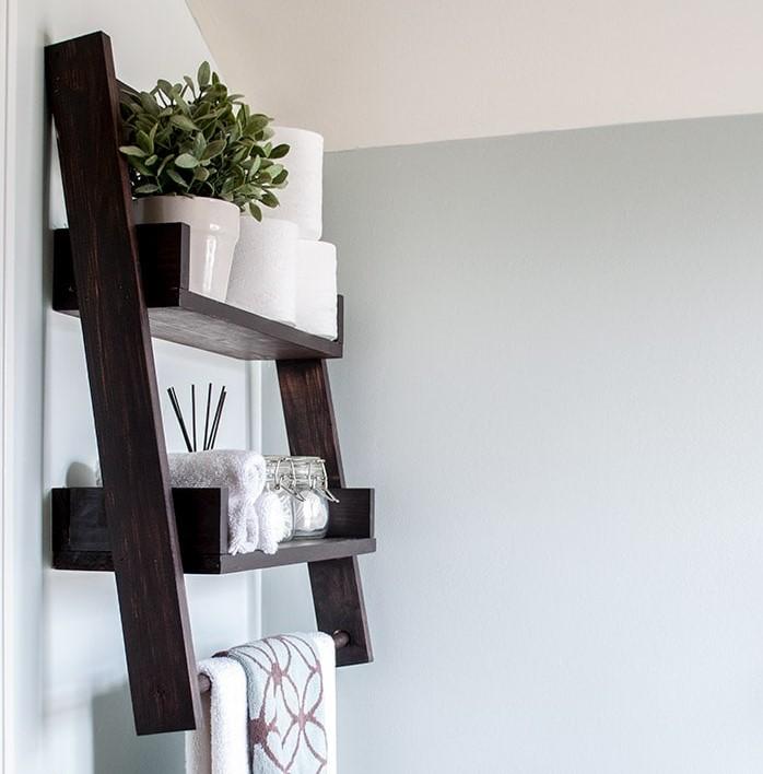 floating ladder shelf diy