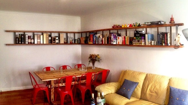 wall mounted horizontal ladder shelf